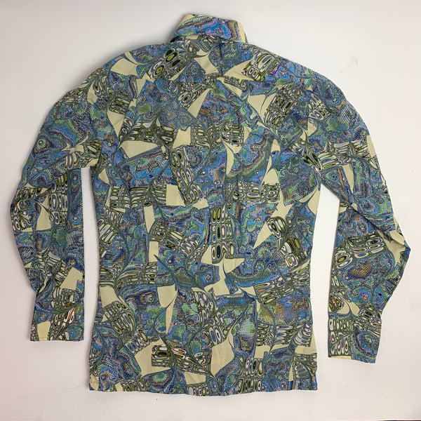 Vtg. Blue Psychedelic Printed Button Down Shirt (S)