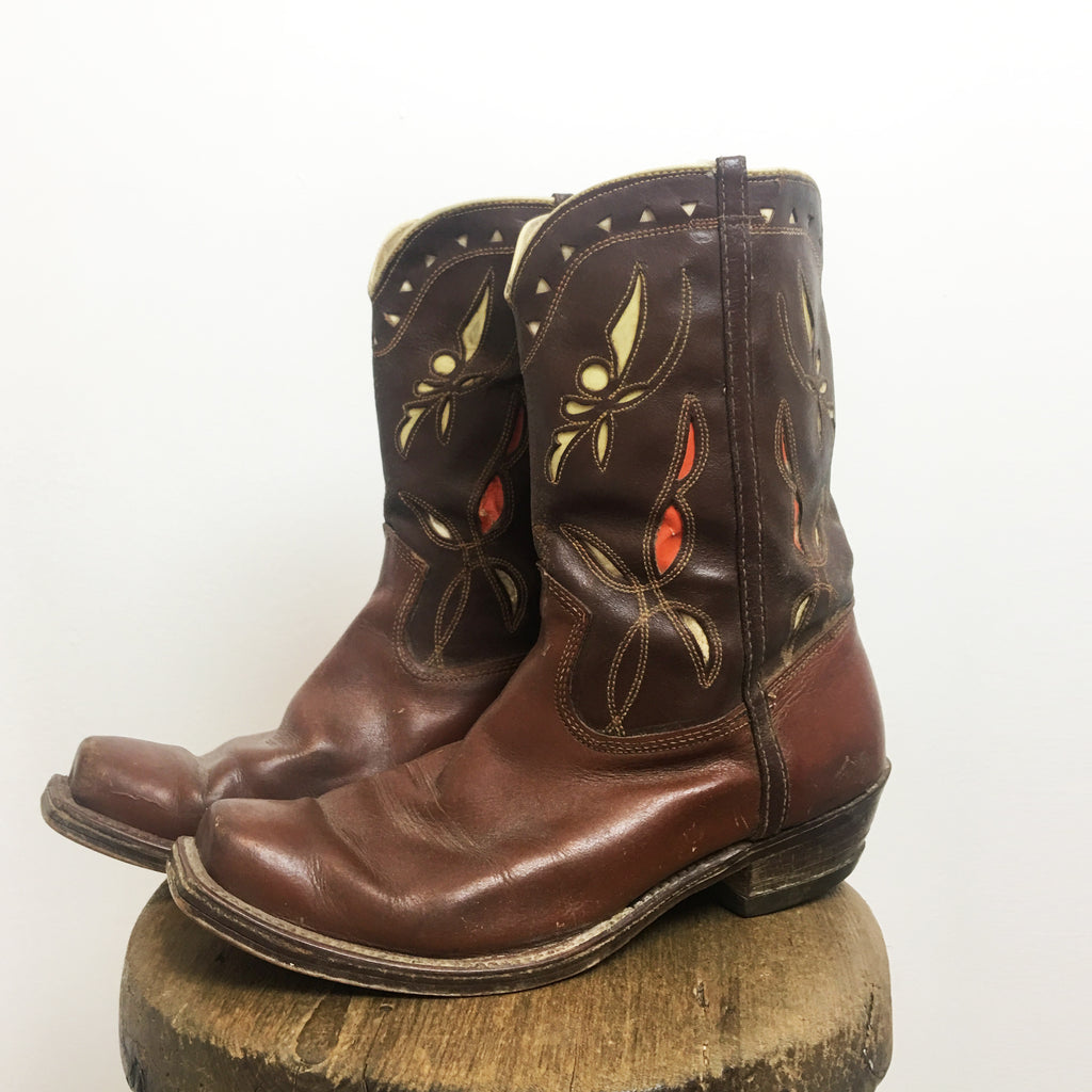 1960s Low Calf Western Inlay Cowboy Boots women's 7