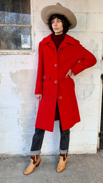 Vintage Bright Red Wool Trench Coat (S/M)