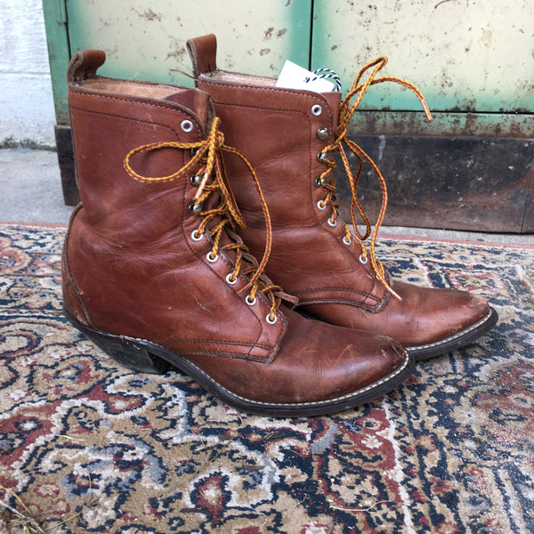 Vintage Brown Pointed Roper Boots women's 6