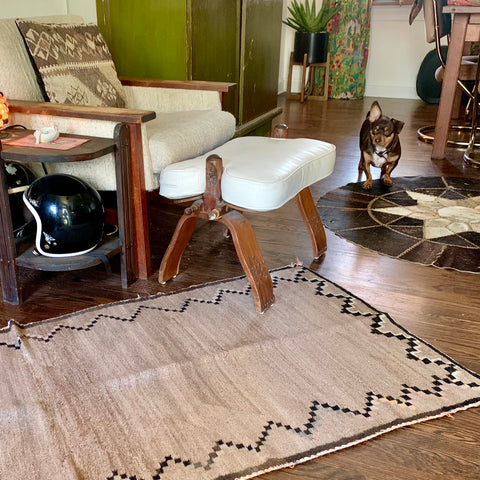 "Mid-Century Taupe Woven Rug 48""x32"""