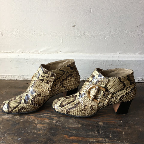1970s Python Heeled Ankle Boots women's 5