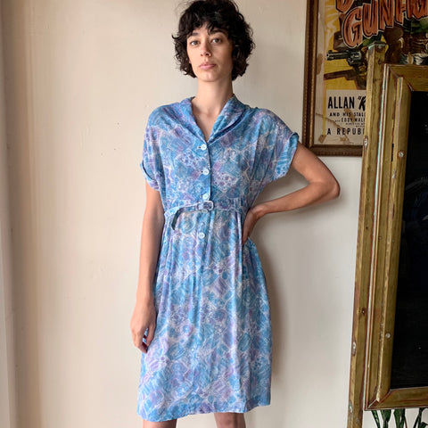 1930s Silk Printed Blue Day Dress -as is- (S/M)