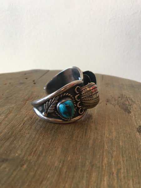 1970s Ladies Sterling and Turquoise Etched Watch Band