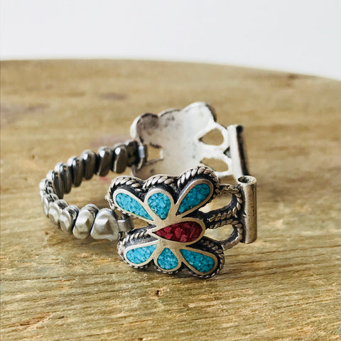 Vtg. Crushed Turquoise and Coral Sterling Butterfly Watch Band