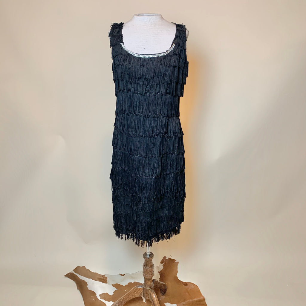 Vintage Black Fringe Bedazzled Flapper Dress (L)