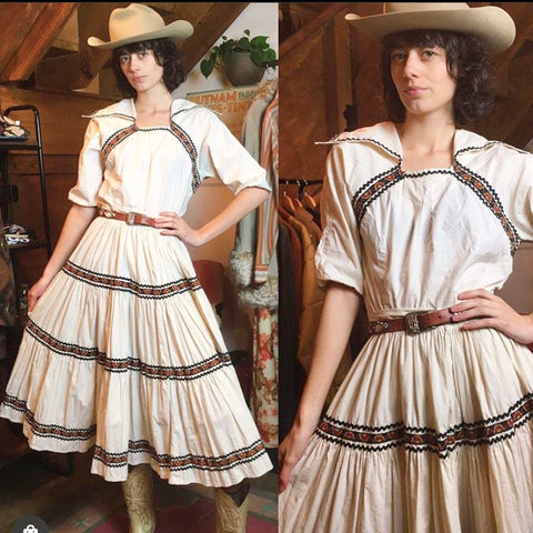 1950s Cream Western 2-Pc Dance Set (M/L)