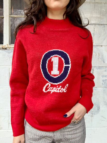 1960s CAPITOL RECORDS Red Mock Neck Sweater (S/M)