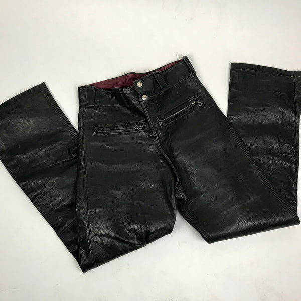 Vintage Biker Leather Moto Pants 28x29