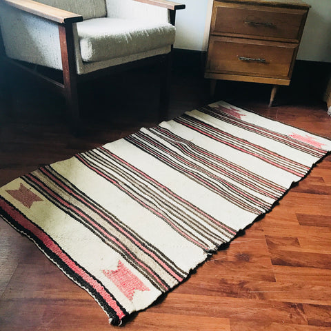 Vintage Beige, Brown, and Strawberry Woven Rug