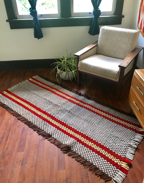 1930s Woven Brown, Cream and Yellow Felt Rug