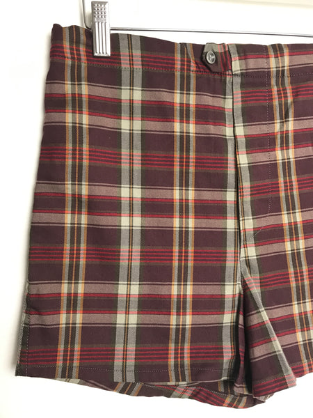 Vtg. Maroon Plaid Swim Trunks size 32