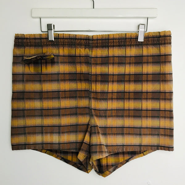 Vtg. Brown Plaid Swimming Trunks size 34