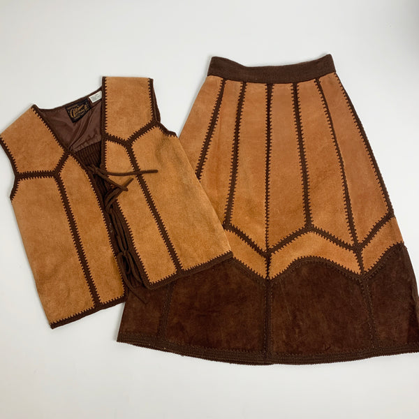 1960s 2-Pc Suede Two Tone Set (S)
