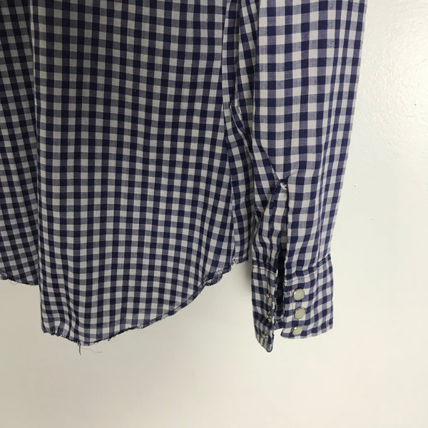 Vtg. Dee Cee Blue Gingham Pearl Snap Shirt