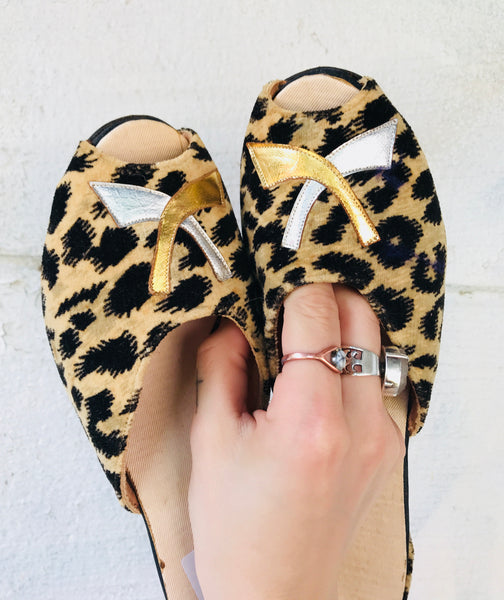 Vintage Leopard Metallic Slip On Heels women's 6