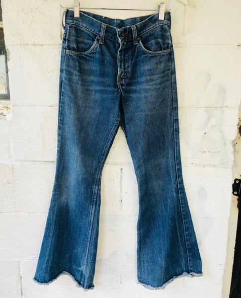 1970s Frayed Flare Jeans 27x30