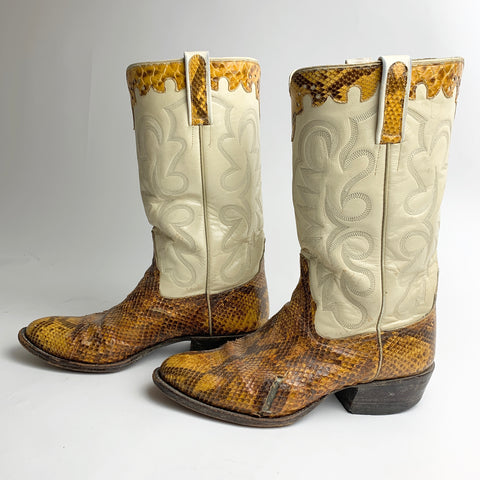 Vtg. Cream & Rattlesnake Boots men's 8