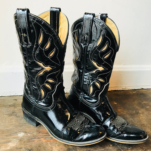 Vintage Black Patent Leather Acme Cowboy Boots women's 6