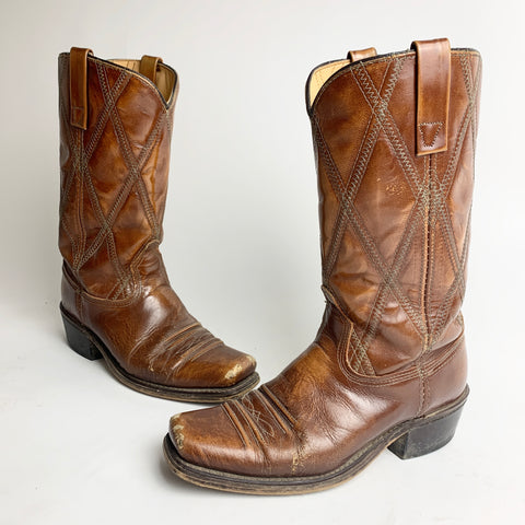 Vintage Diamond Stitched Brown Boots men's 8