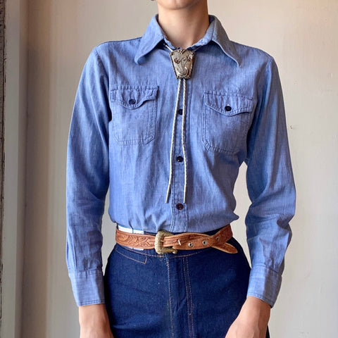 Vtg. Chambray Button Down Shirt (S)