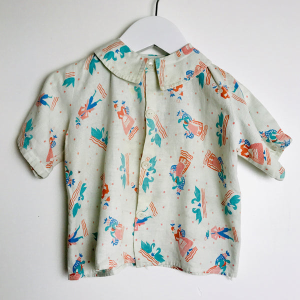 Vtg. Kid's Printed Button Down Blouse (2T)
