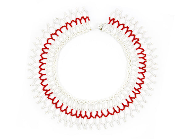 Red and White Beaded Choker