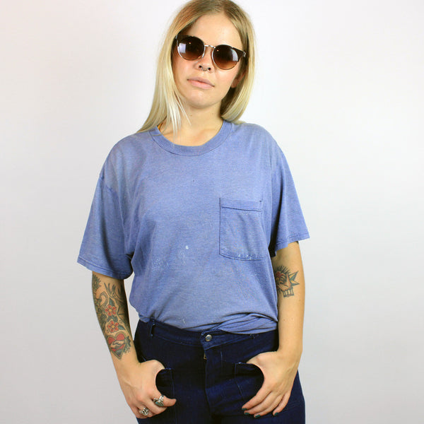 Vintage Blue Pocket Tee