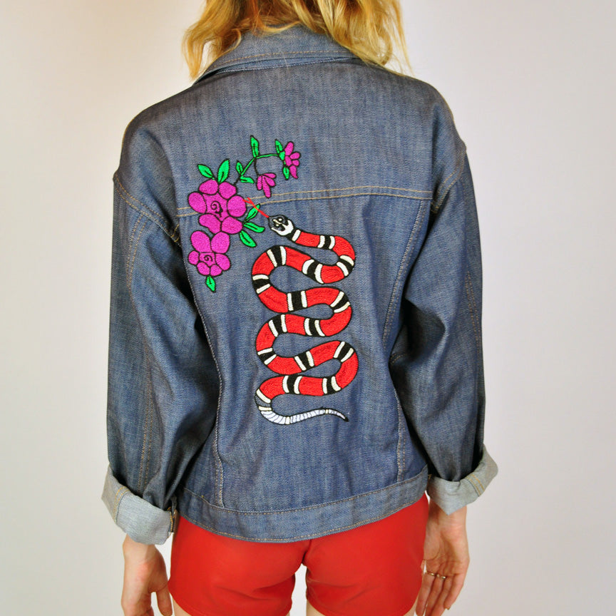 Coral Serpant and Roses Chainstitched Denim Jacket