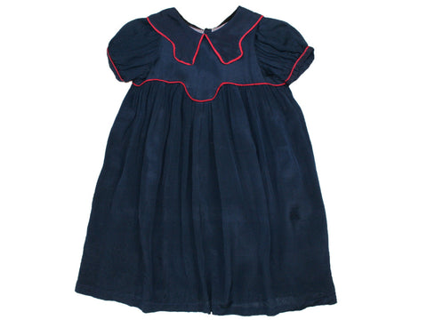 1950s Girls Navy Silk Dress