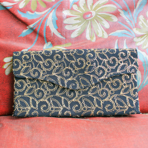 Vtg. Black with Gold Embroidered Stitch Envelope Clutch