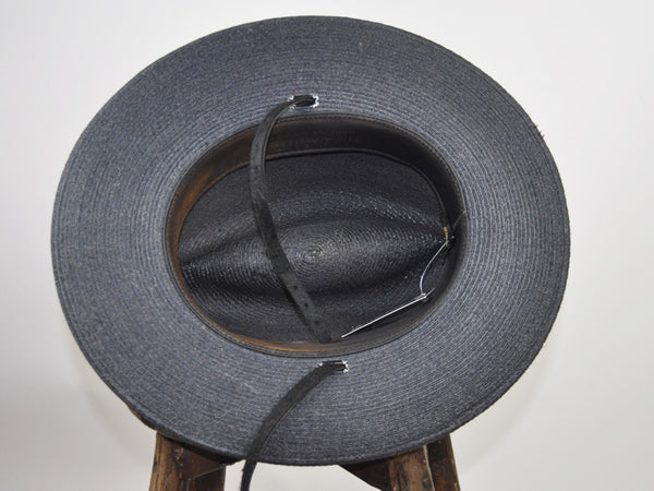 Size 7 1/8: Black Straw Hat with Chinstrap