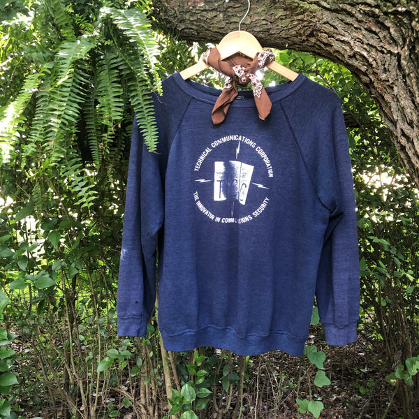 Vintage Navy Blue Technical Communications Corp. Sweatshirt (L)