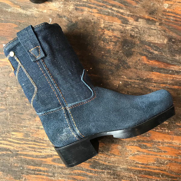 NOS 1950s Kid's Denim and Suede Boots