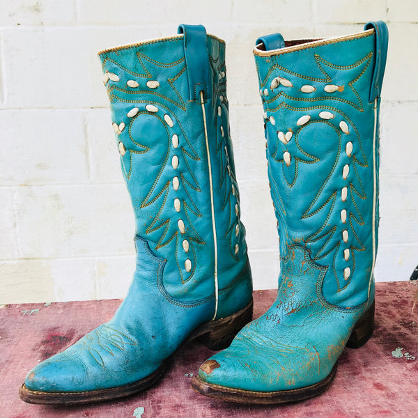 Aqua Texas Premier Cowboy Boots women's 7 -as is-