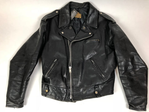 1970s Black Leather Motorcycle Jacket