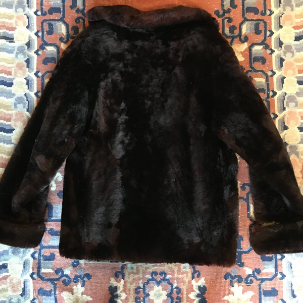 1950s Sears Soft Chocolate Mutton Coat