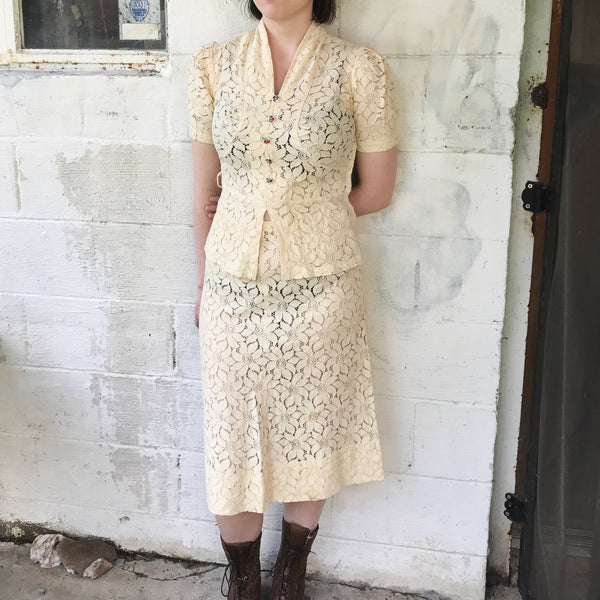 1940s Cream Lace Two Piece Set