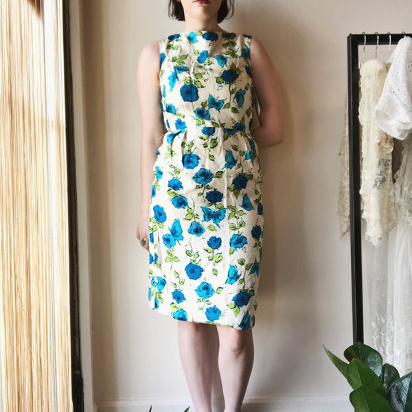 Vtg. Blue Rose Printed Silk Dress