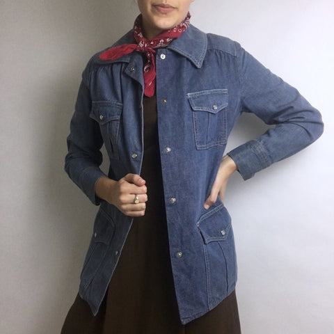 Vtg. Wescott Pearl Snap Denim Chore Coat