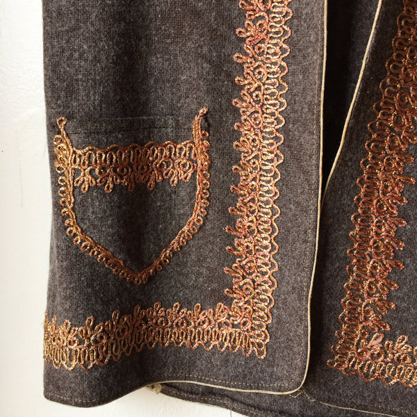 Vintage Iranian Wool Vest with Gold Embroidery