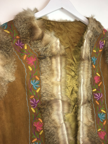 1960s Woodstock Suede Embroidered Vest -as is-