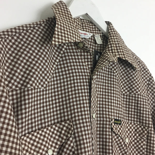 Vtg. Brown Gingham Wrangler Pearl Snap Shirt