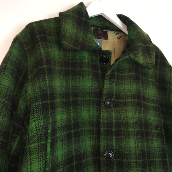 1950s Dark Green Plaid Coat with Hunter Print Lining