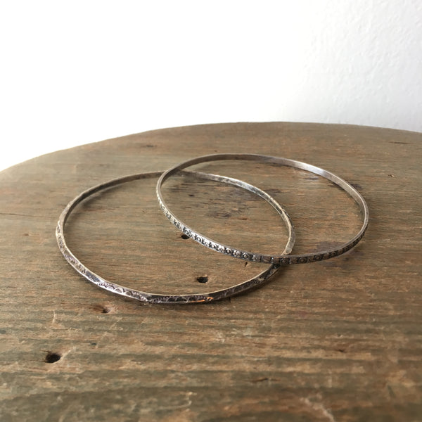 Vtg. Thin Etched Sterling Bracelets