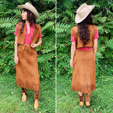 1970s Studded Western Suede 2-Pc Set (M)