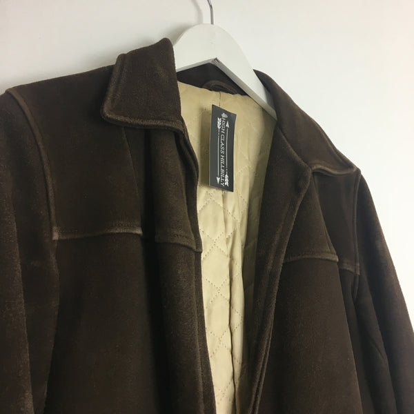 1930s Chocolate Suede Quilted Open Fit Coat