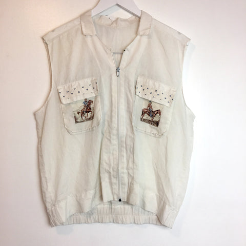 Vtg. Thin White Cowboy Zip Vest -as is-