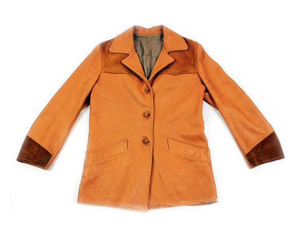 1970s Tan Leather and Suede Jacket (S)