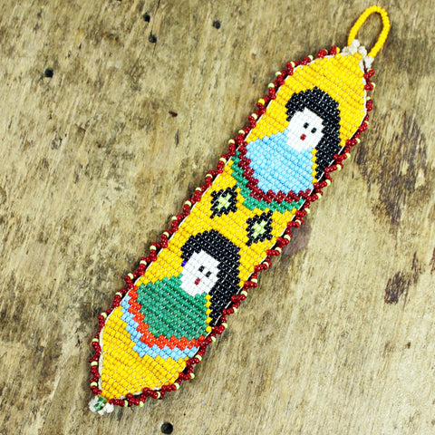 Beaded Native American Woman Pendant